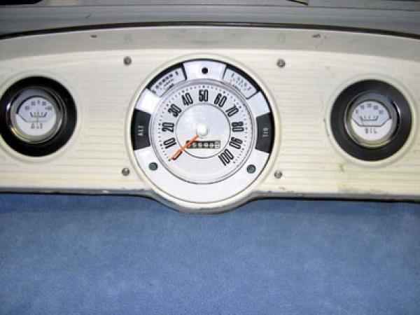 1961-1966 Ford Truck Bronco Dash Cluster White Face Gauges 61-66